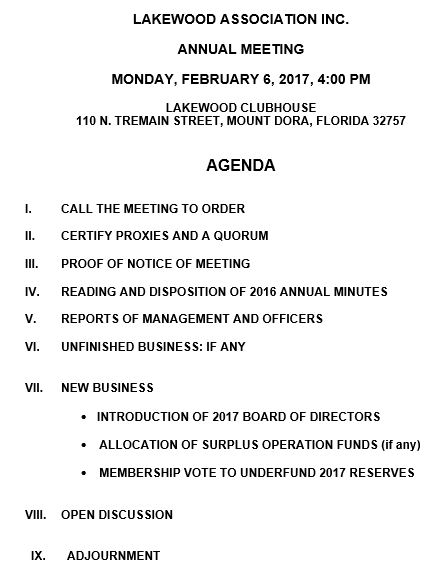 Board Meeting Agendas  Lakewood Association